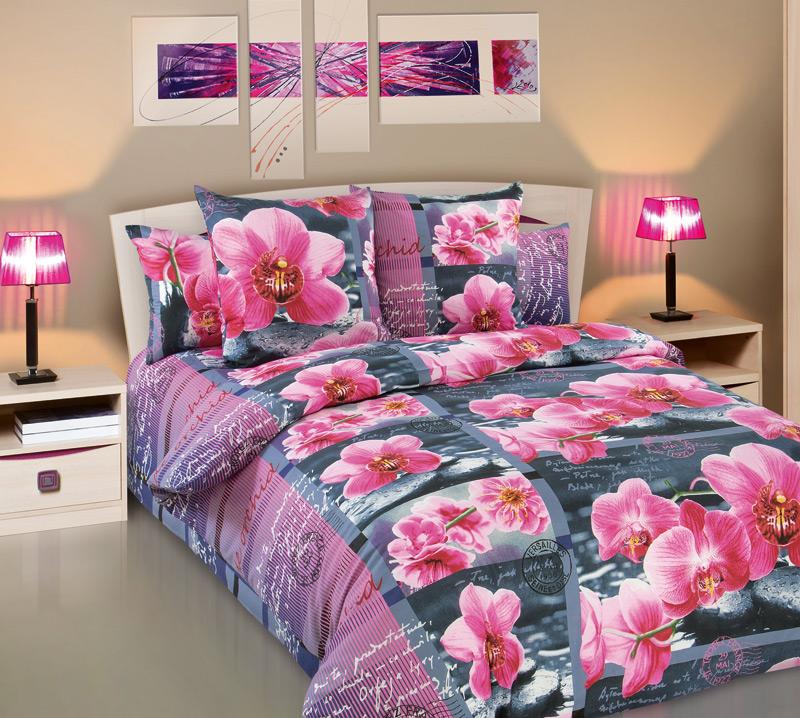 Комплект постельного белья Дикая орхидеяБязь<br><br><br>Размер: 2сп с европростыней (2 нав.70х70)