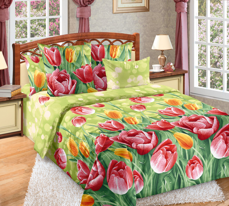 Комплект постельного белья ТюльпаныБязь<br><br><br>Размер: 2сп с европростыней (2 нав.70х70)