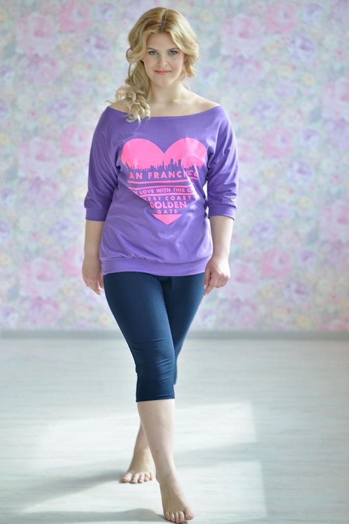 Блуза женская Сан Франциско из хлопкаКоллекция ВЕСНА-ЛЕТО<br><br><br>Размер: Сиреневый