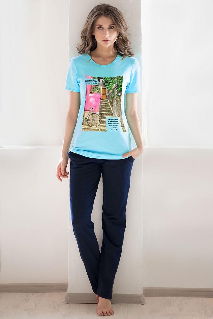 Костюм женский Летний дворик футболка и брюкиДомашние комплекты, костюмы<br><br><br>Размер: Бирюзовый
