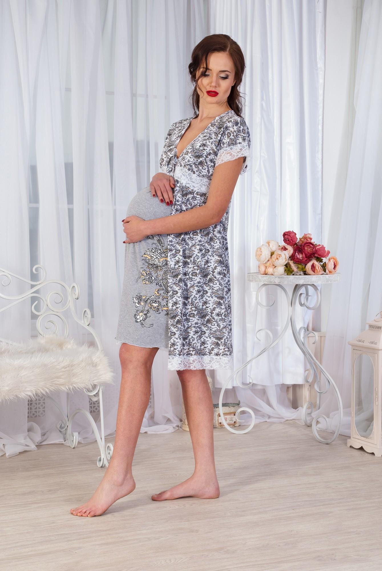 Комплект женский Ирэн сорочка и халат из хлопкаСорочки<br><br><br>Размер: 52