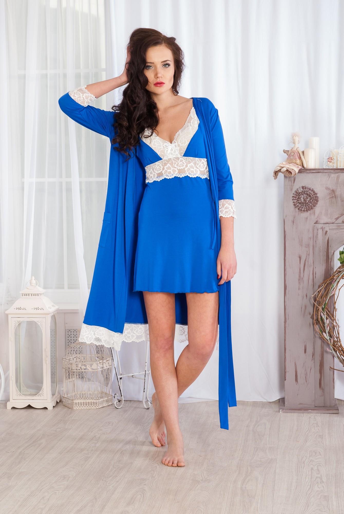Комплект женский Изольда сорочка и халатСорочки<br><br><br>Размер: 54
