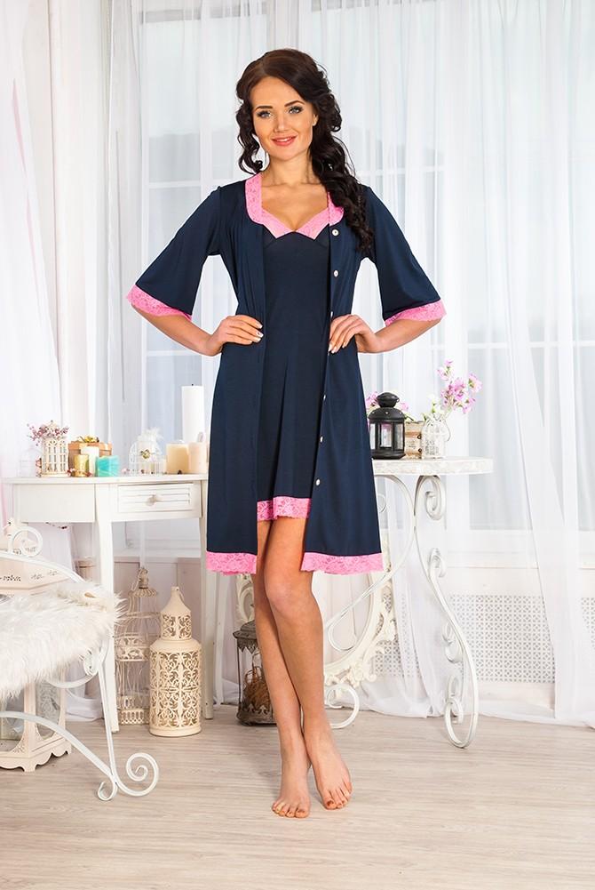 Комплект женский Верона сорочка и халат из ткани маслоСорочки<br><br><br>Размер: 54