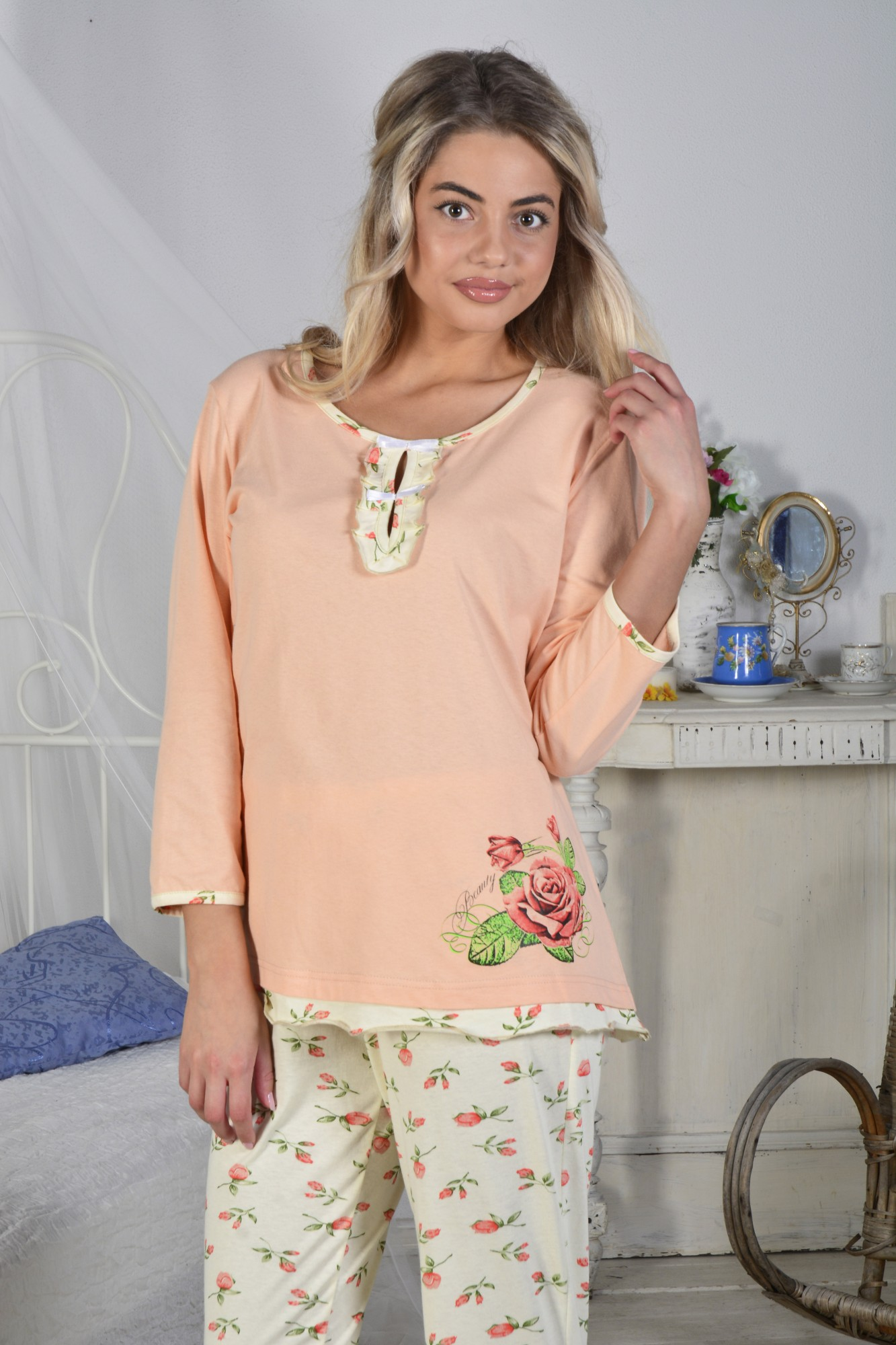 Костюм женский Аллея блуза и брюкиПижамы<br><br><br>Размер: 50