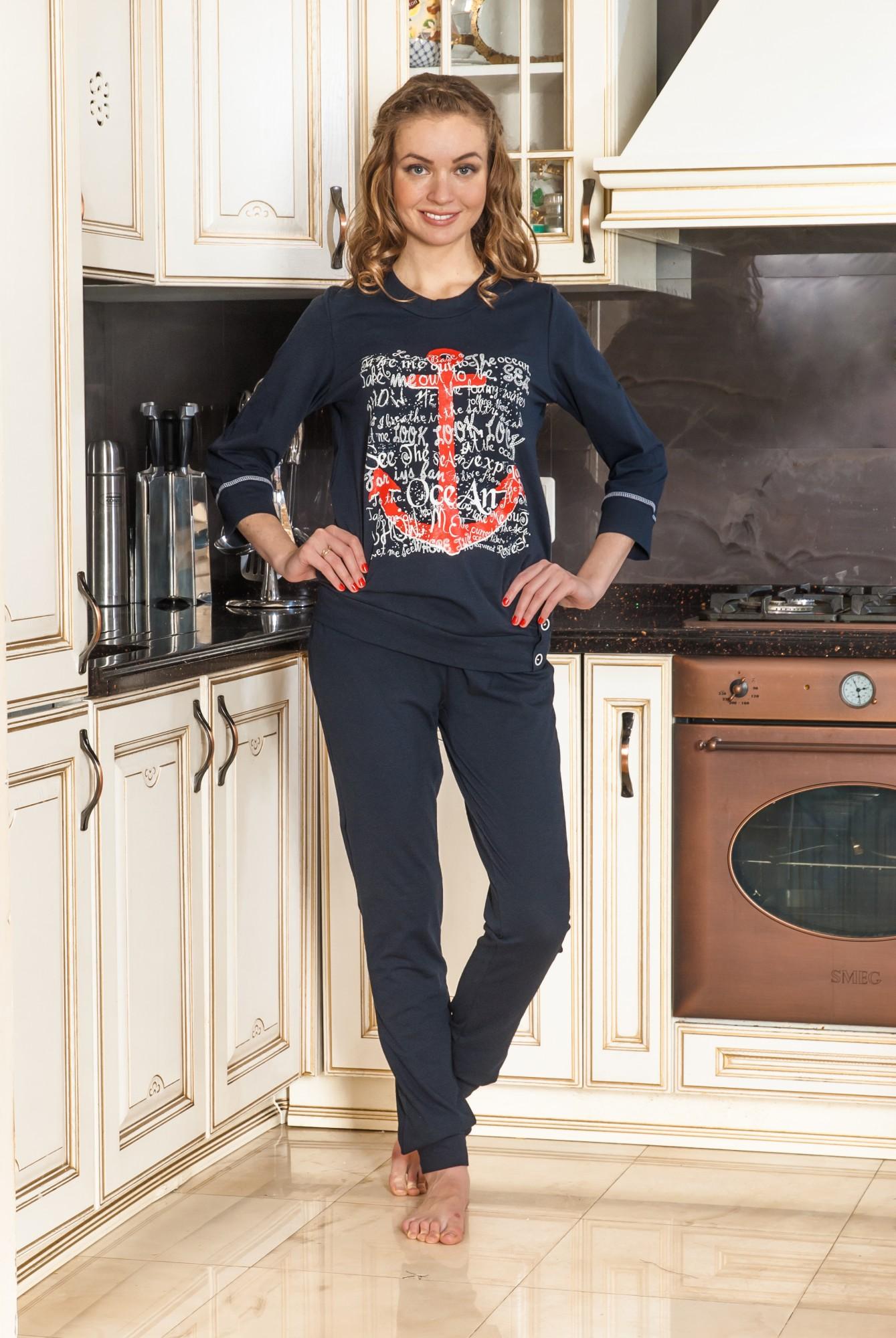 Костюм женский Океан блуза с рукавом 3/4 и брюкиДомашние комплекты, костюмы<br><br><br>Размер: 48