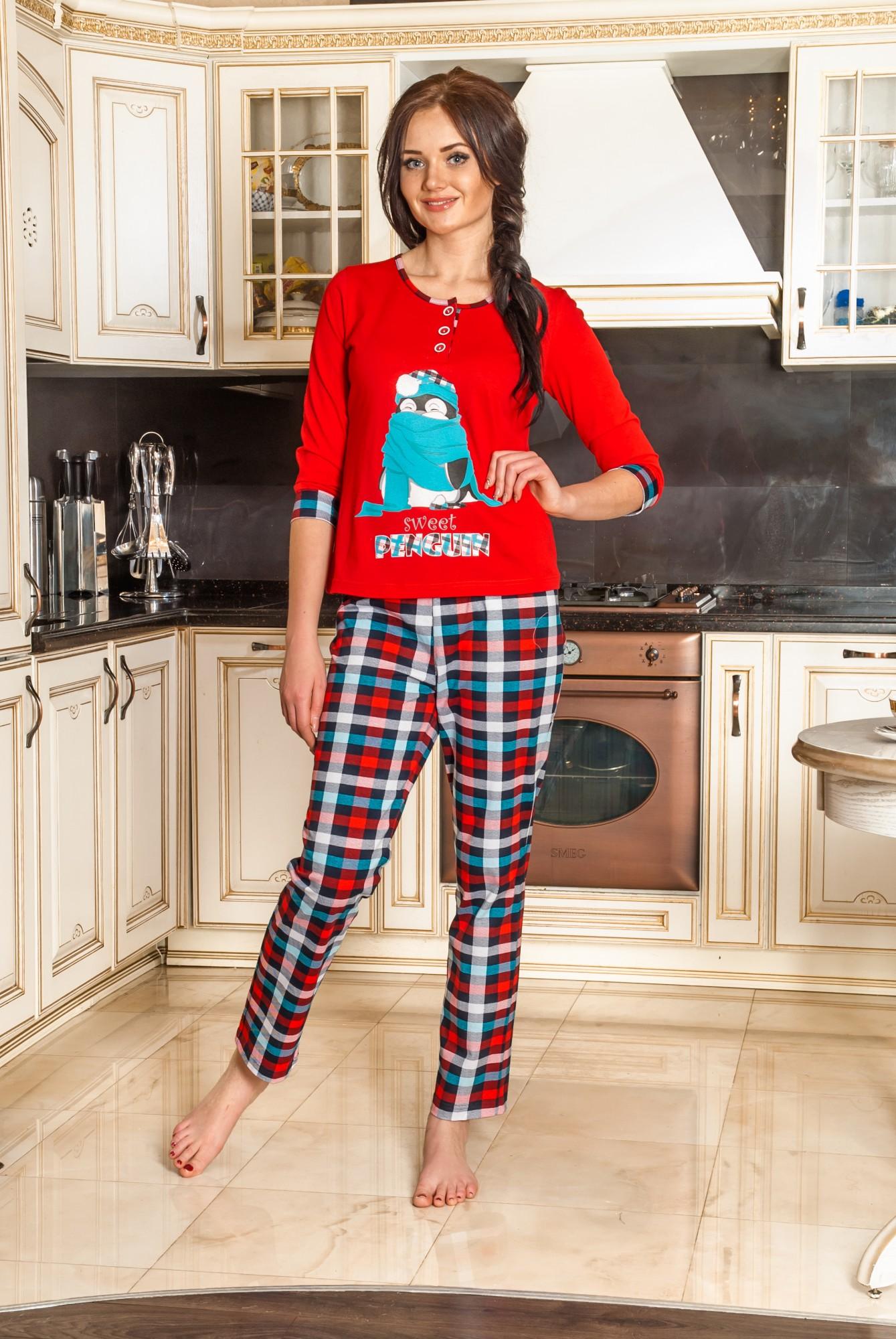 Костюм женский ПингвинКомплекты домашние теплые<br><br><br>Размер: Синий