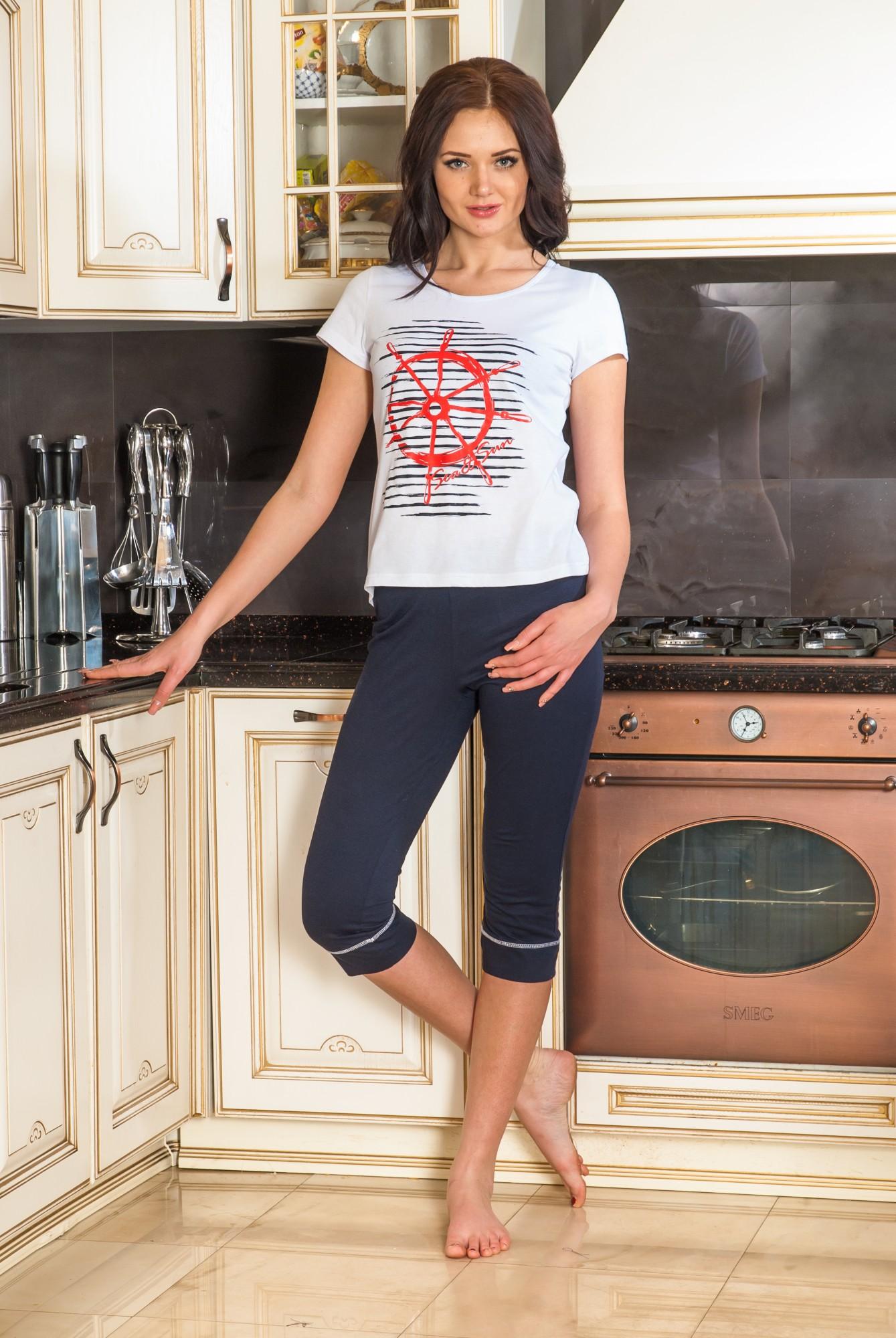 Костюм женский Штурвал футболка и бриджиДомашние комплекты, костюмы<br><br><br>Размер: 44