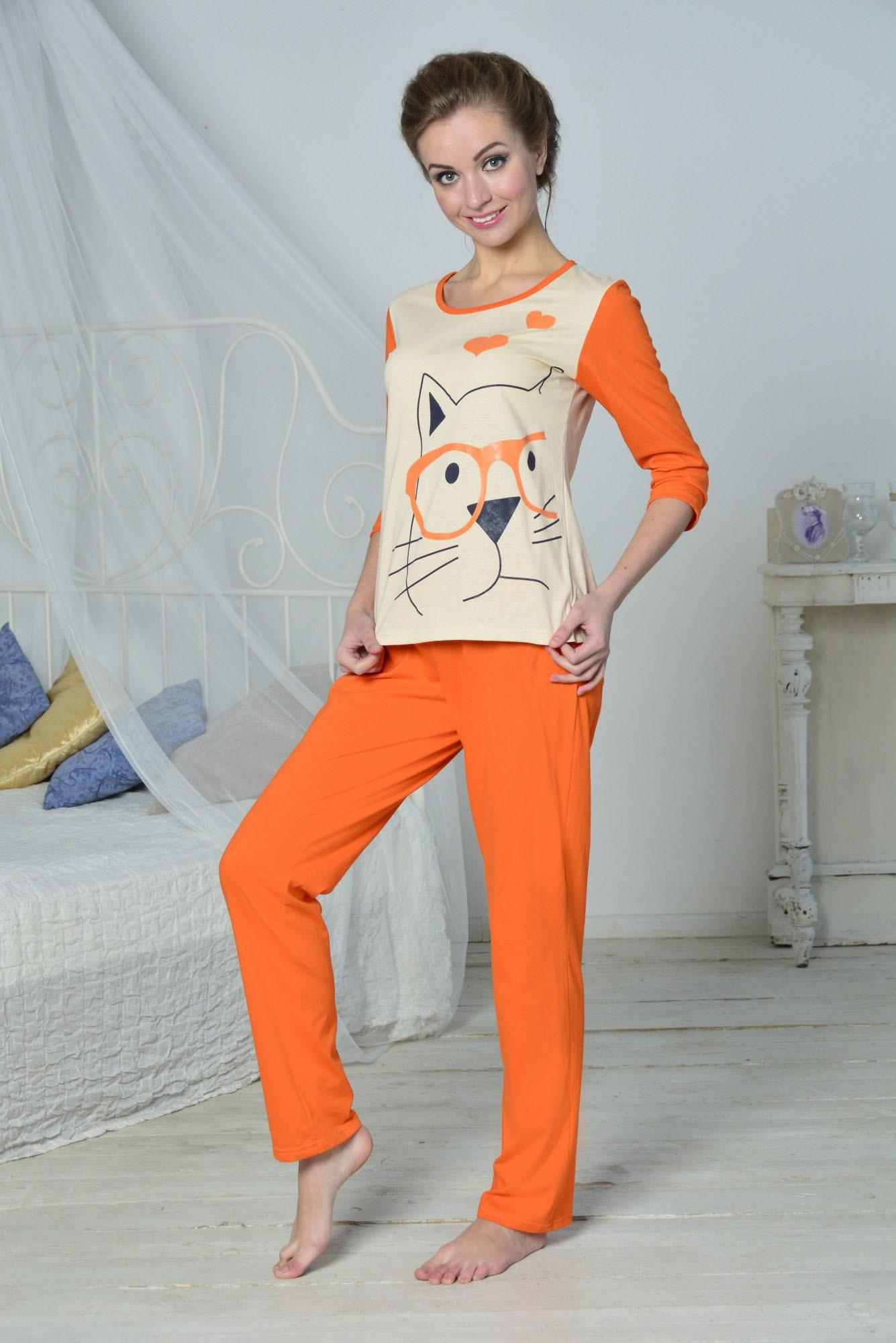 Костюм женский Умник блуза рукав 3/4 и брюкиПижамы<br><br><br>Размер: 52