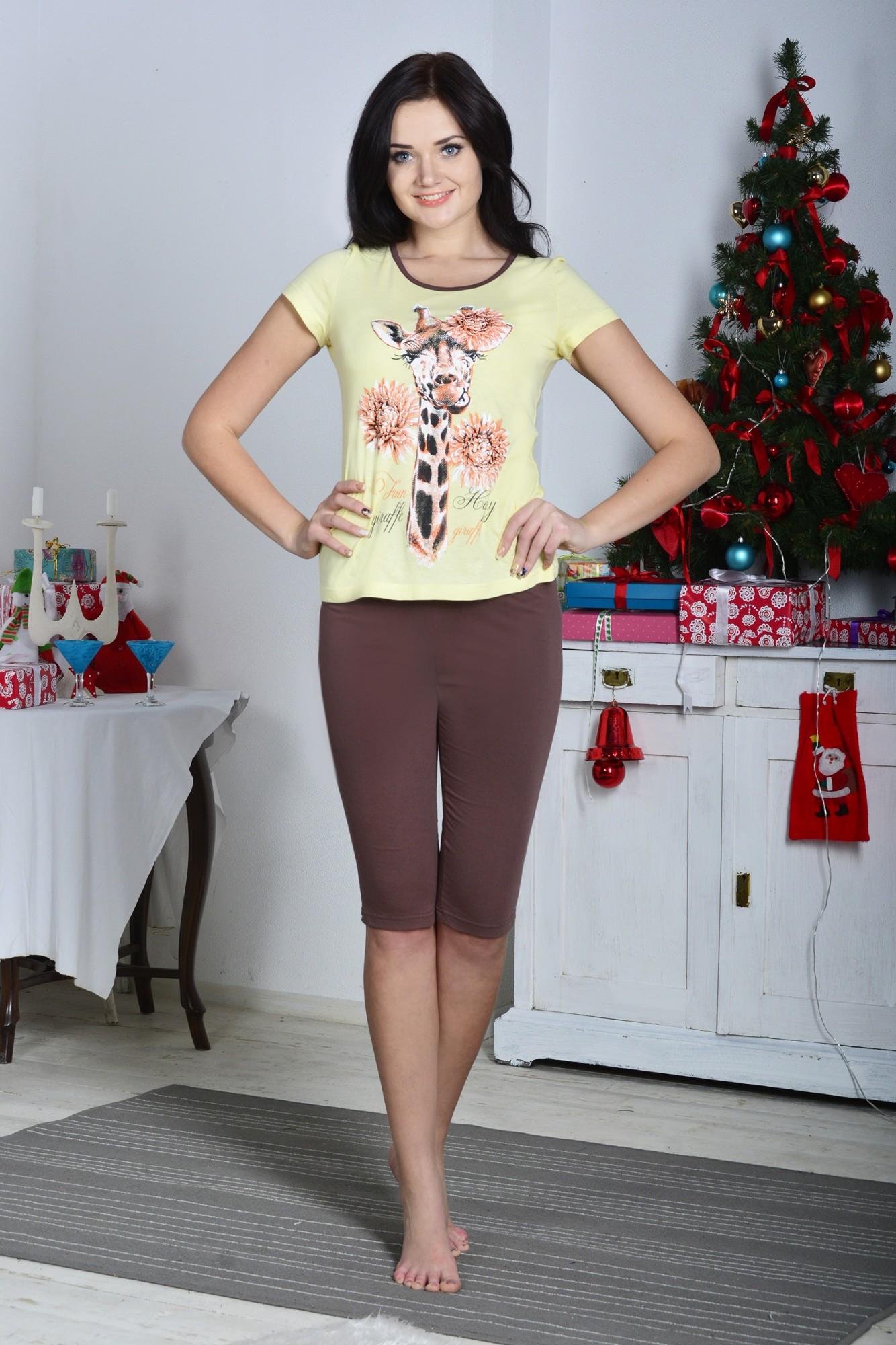 Костюм женский Жирафчик футболка и каприКоллекция ВЕСНА-ЛЕТО<br><br><br>Размер: 44