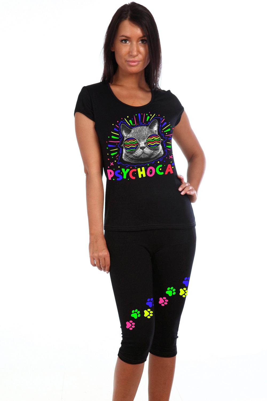Костюм женский Психокот футболка и бриджиДомашние комплекты, костюмы<br><br><br>Размер: 52
