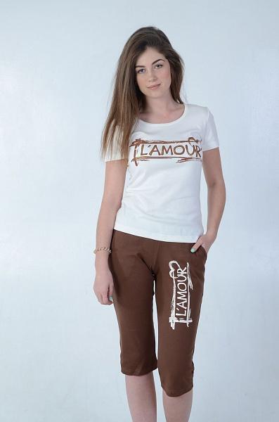 Костюм женский Гламур футболка и бриджиКостюмы<br><br><br>Размер: 52