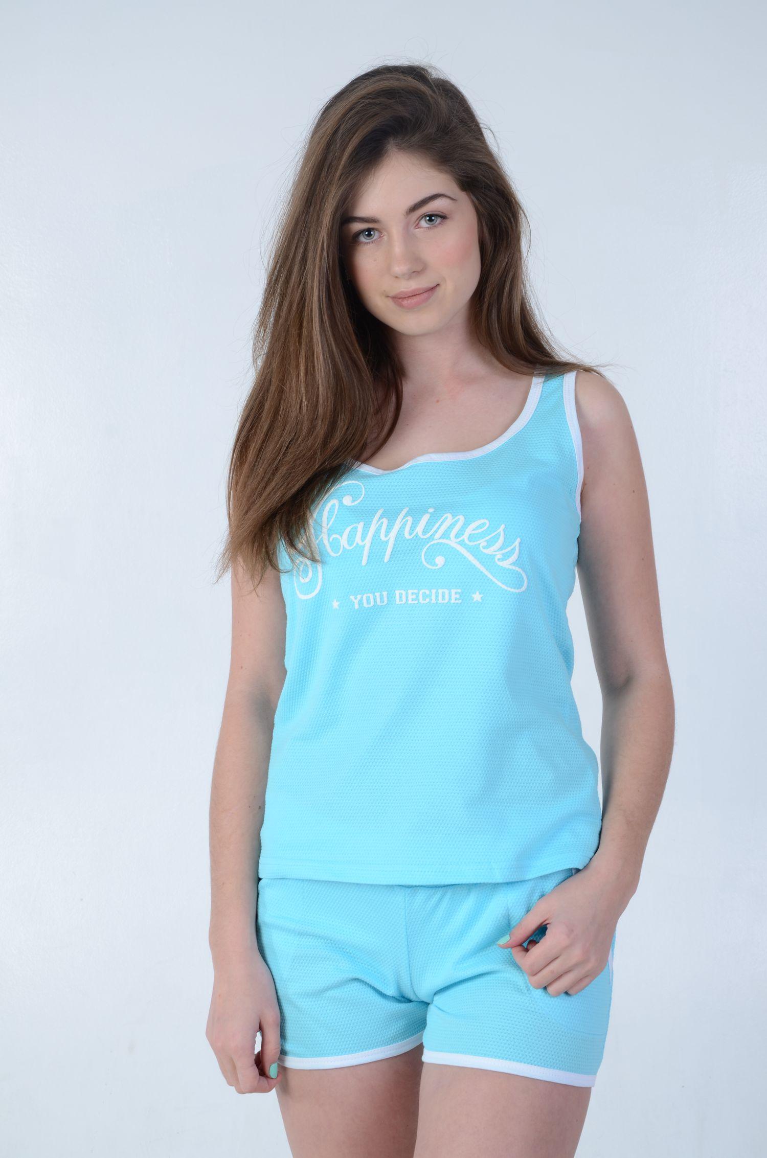 Костюм женский Хэппи шорты и майкаДомашняя одежда<br><br><br>Размер: Голубой