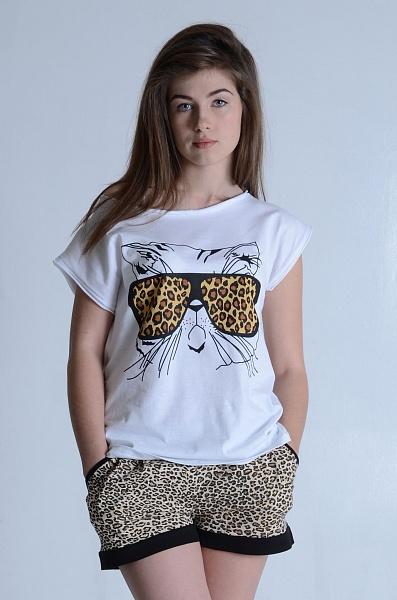 Костюм женский Лео футболка и шортыДомашние комплекты, костюмы<br><br><br>Размер: 48