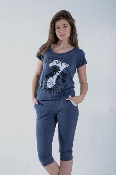 Костюм женский Майами футболка и бриджиДомашние комплекты, костюмы<br><br><br>Размер: 52