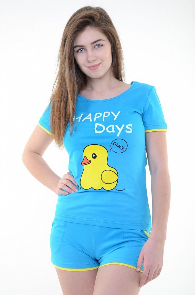 Костюм женский Уточка футболка и шортыДомашняя одежда<br><br><br>Размер: Голубой
