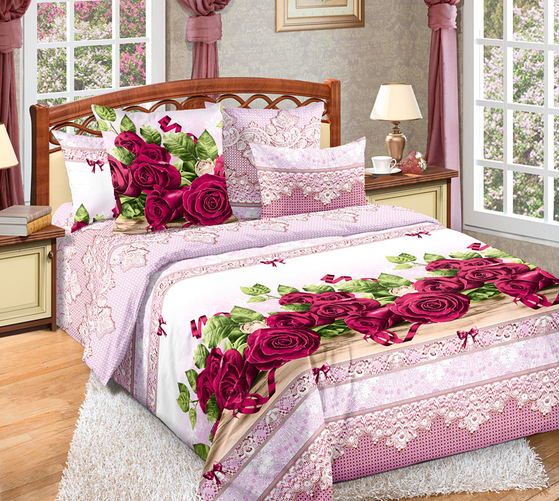 Комплект постельного белья Розы 3 из бязиБязь<br><br><br>Размер: 2сп с европростыней (2 нав.70х70)