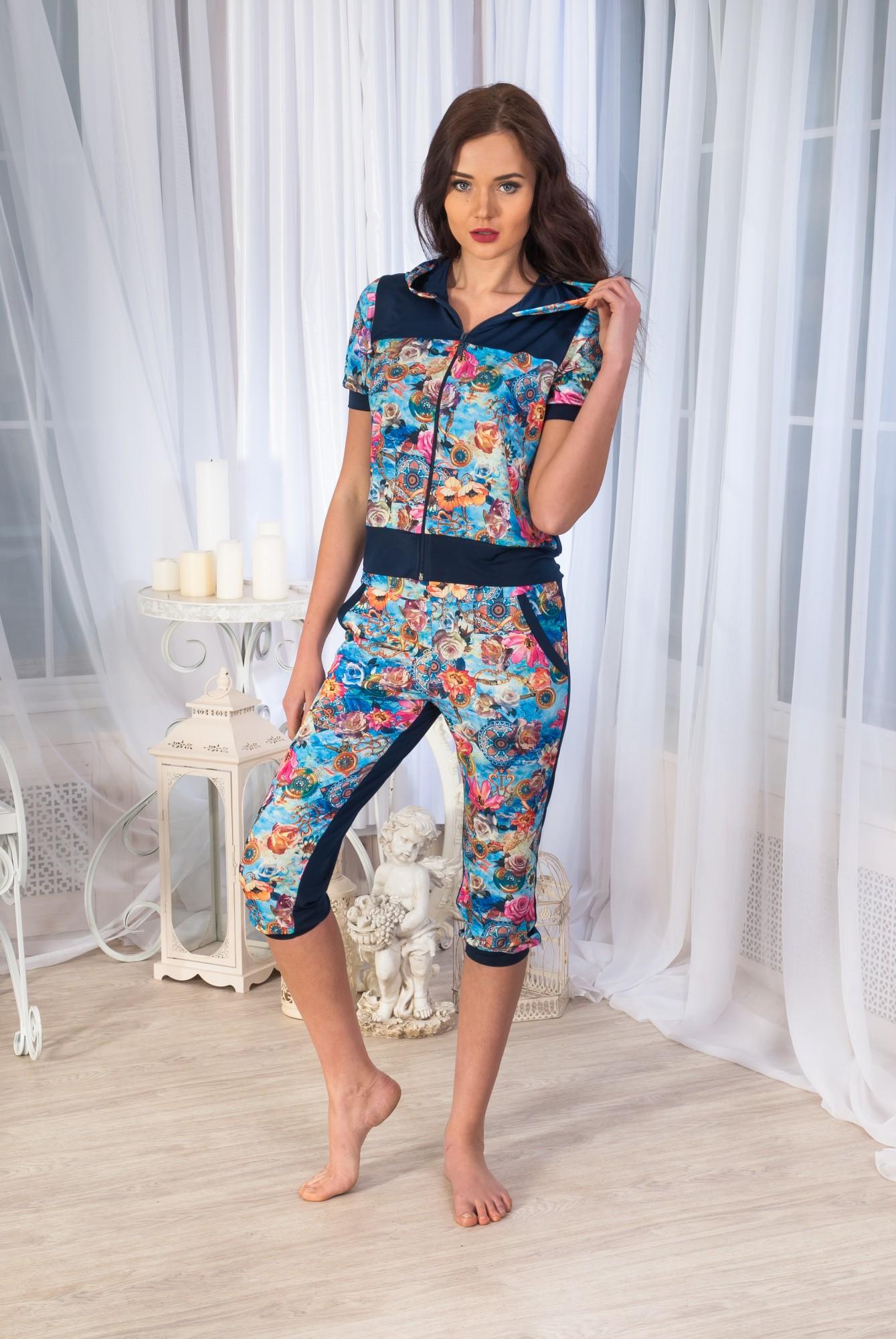 Костюм женский Аманда-бриджи блуза с коротким рукавомДомашние комплекты, костюмы<br><br><br>Размер: 46
