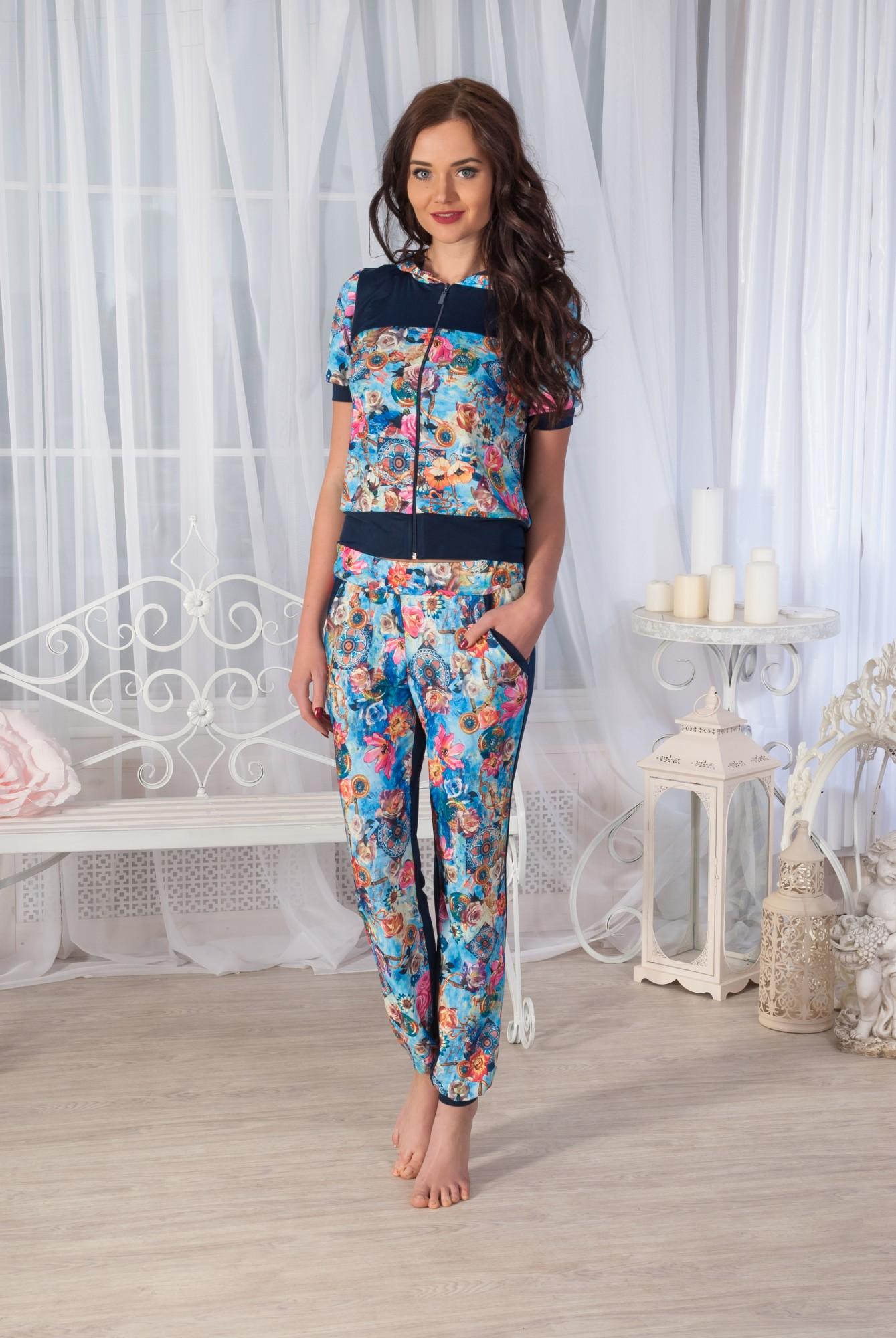 Костюм женский Аманда-брюки блуза с коротким рукавомДомашние комплекты, костюмы<br><br><br>Размер: Лео