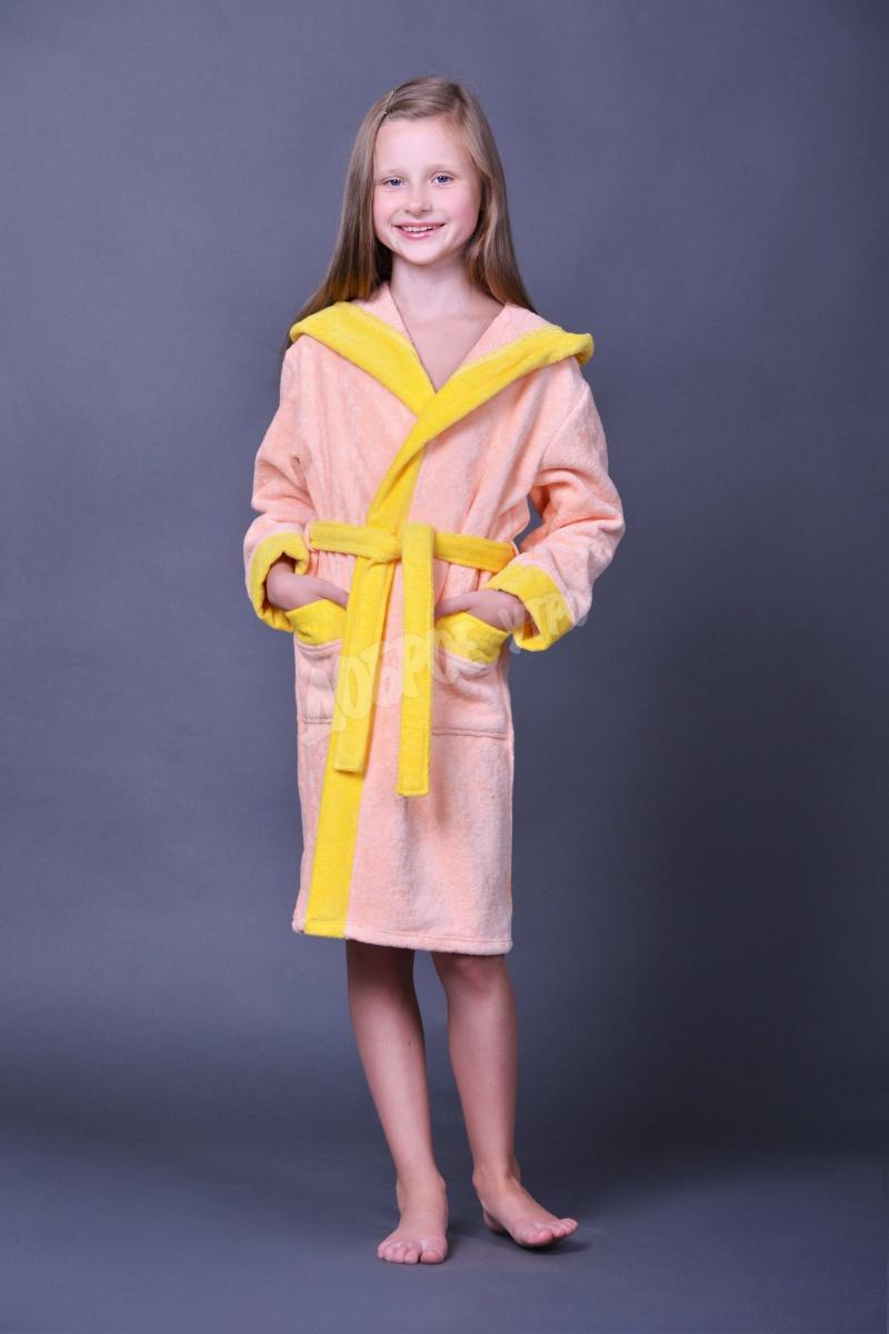 Халат детский Велюр для девочкиХалаты детские для ванной<br><br><br>Размер: 38