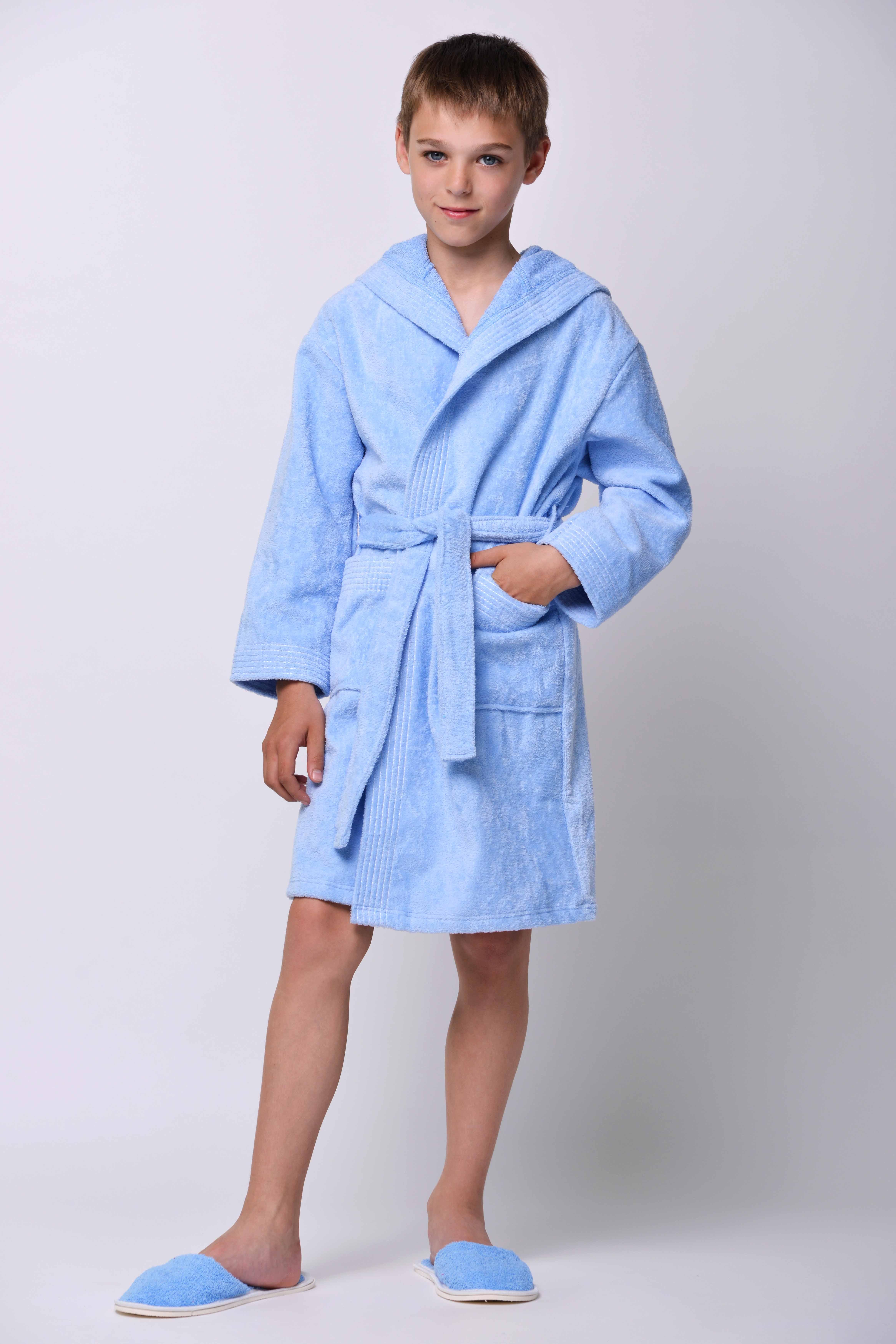 Халат детский Велюр для мальчикаХалаты детские для ванной<br><br><br>Размер: Голубой