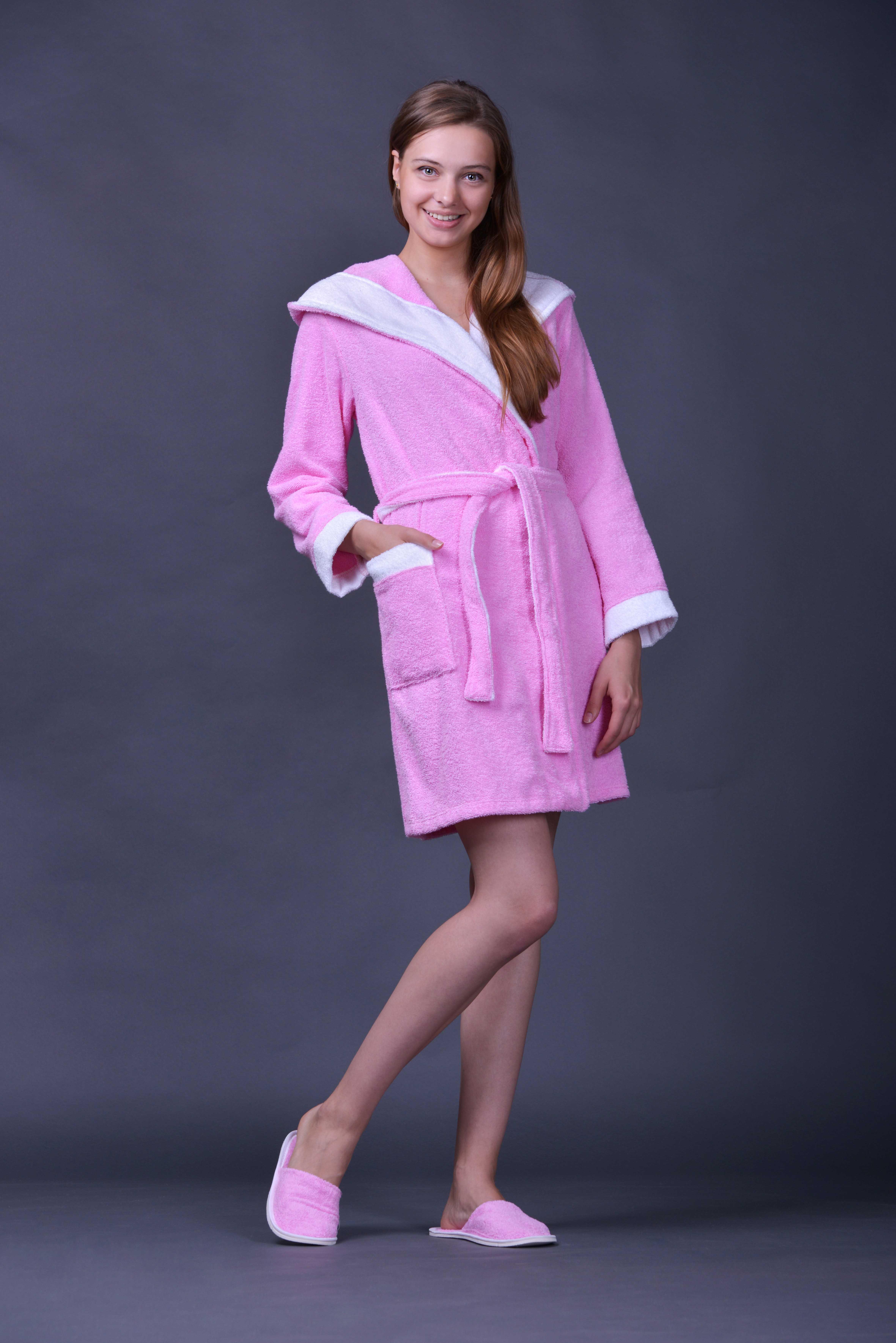 Халат женский для ванной Жасмин 2Халаты женские для ванной<br><br><br>Размер: Розовый