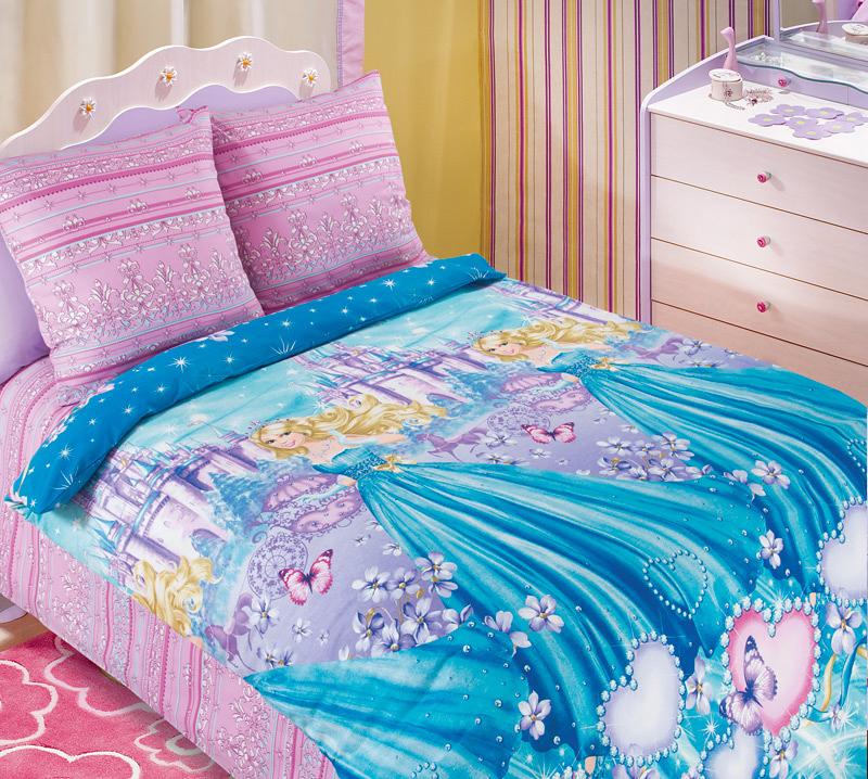 Комплект постельного белья Золушка детский из бязиДетское постельное белье<br><br><br>Размер: 1.5сп (2 нав.70х70)
