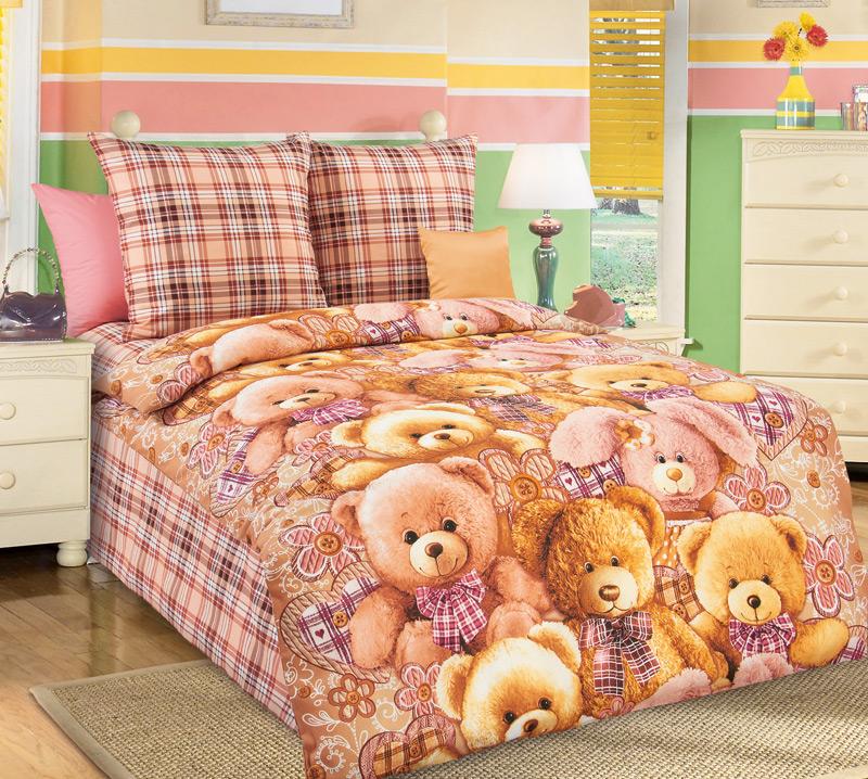 Комплект постельного белья Мишкины друзья 1Детское постельное белье<br><br><br>Размер: 1.5сп (2 нав.70х70)