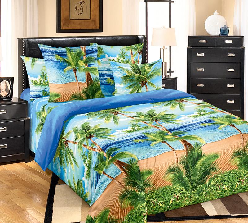 Комплект постельного белья Пляж 1 из бязиБязь<br><br><br>Размер: Евростандарт (2 нав.70х70)