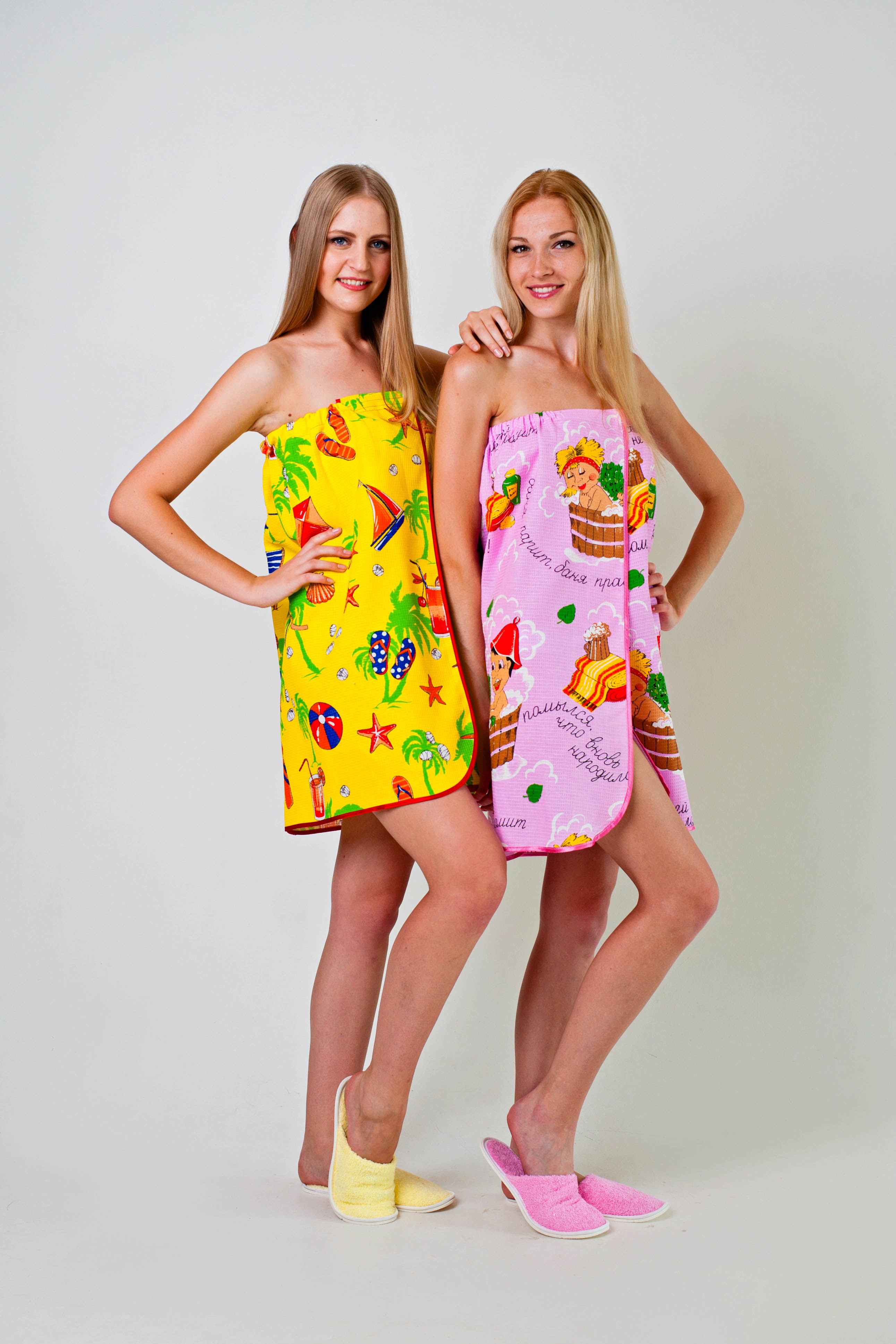 Полотенце-накидка женское Баня на липучке вафельноеНаборы для сауны<br><br><br>Размер: Желтый