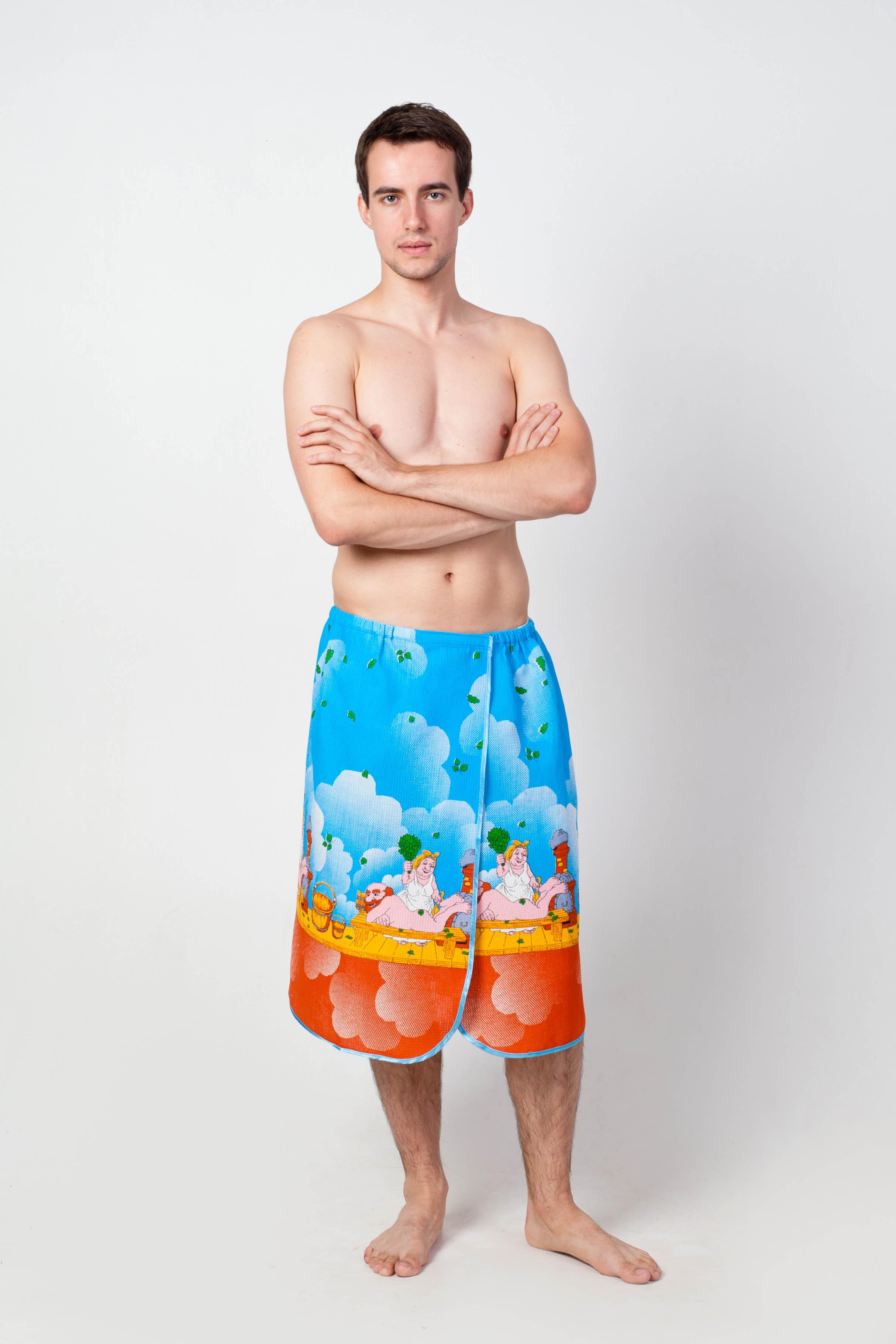 Полотенце-накидка мужское Море на липучке вафельноеНаборы для сауны<br><br><br>Размер: 42