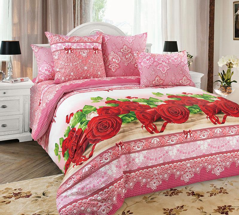 Комплект постельного белья Розы 1Перкаль<br><br><br>Размер: Евростандарт (2 нав. 70х70)