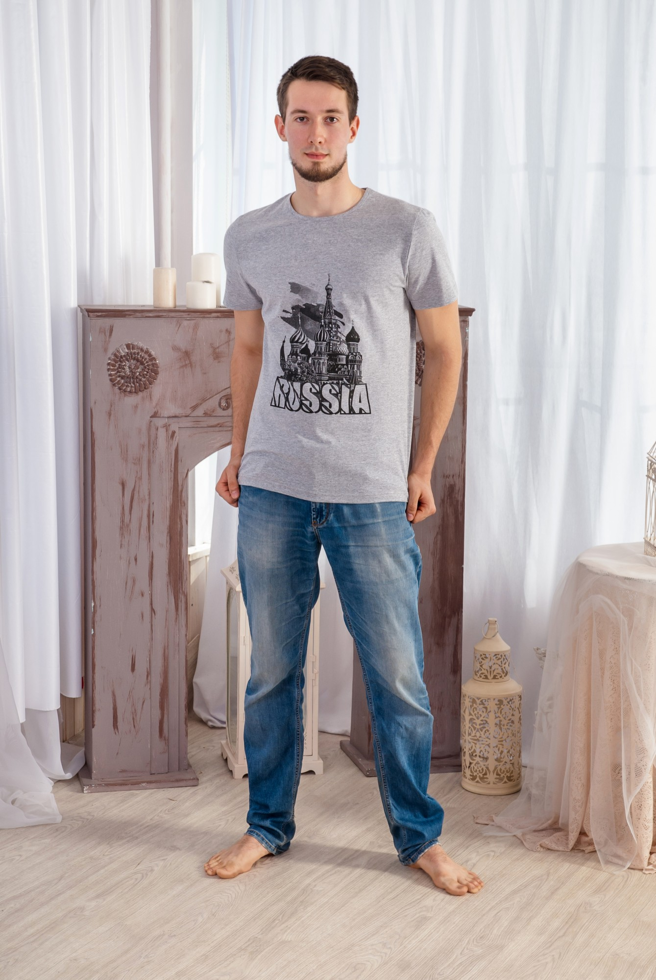 Футболка мужская РоссияФутболки<br><br><br>Размер: Серый