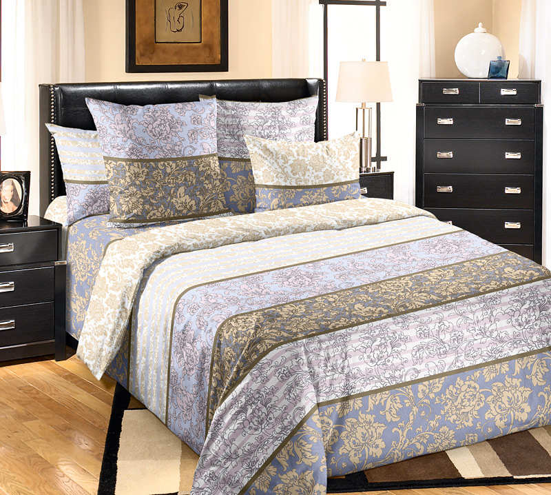 Комплект постельного белья Узоры 2 из бязиБязь<br><br><br>Размер: 2сп с европростыней (2 нав.70х70)