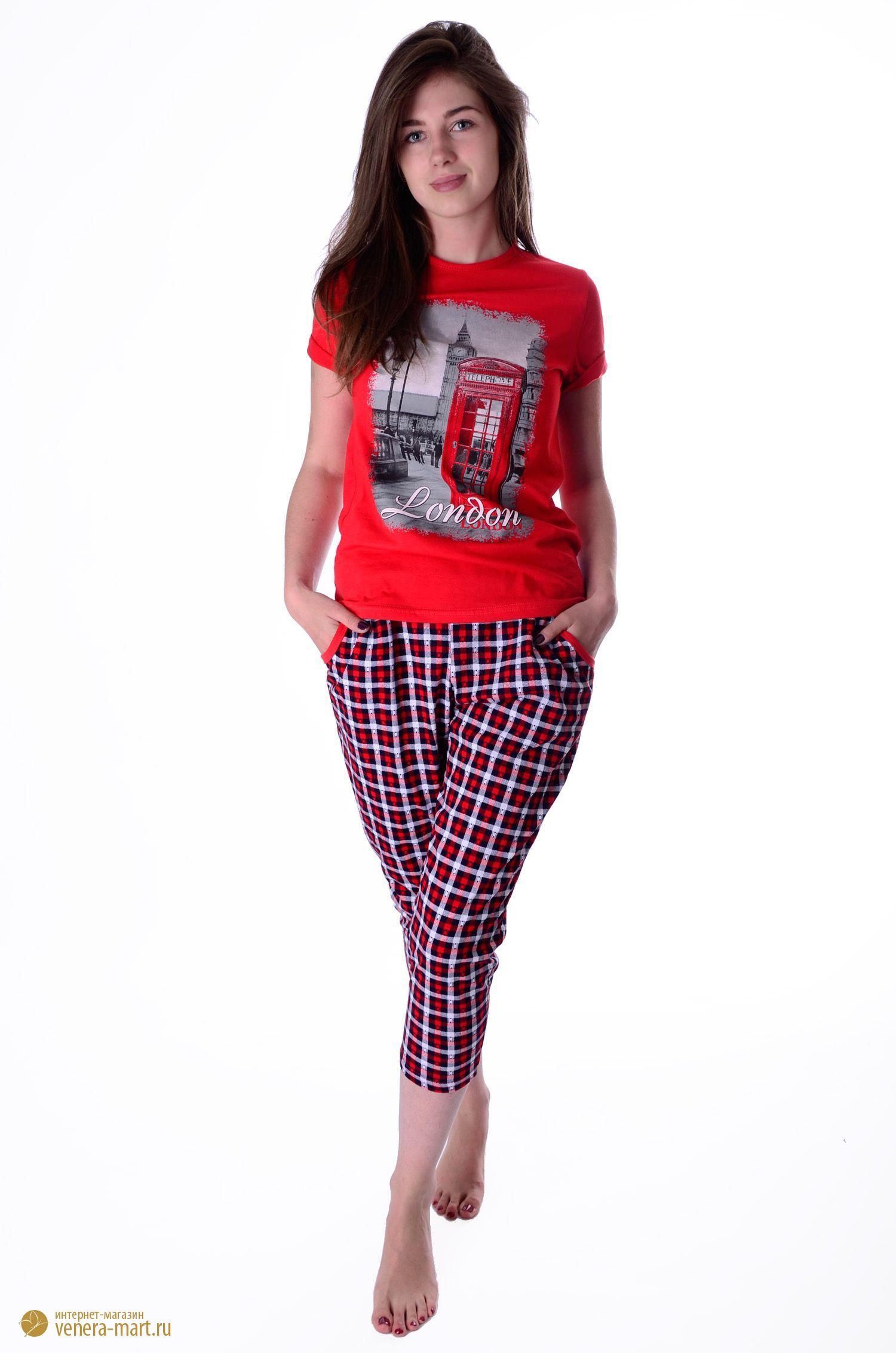 Костюм женский Лондон футболка и бриджиДомашняя одежда<br><br><br>Размер: 54