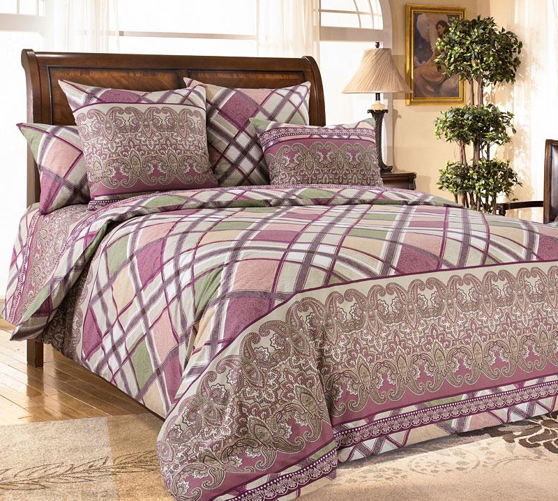 Комплект постельного белья Сомерсет 1 из бязиБязь<br><br><br>Размер: 2сп с европростыней (2 нав.70х70)