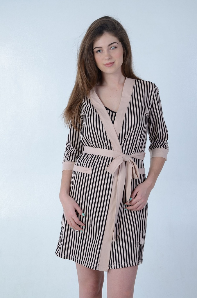 Халат женский Чикаго с поясомДомашняя одежда<br><br><br>Размер: 46