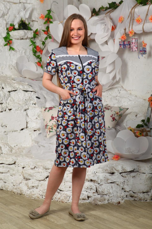 Халат женский Маргаритки на молнииДомашняя одежда<br><br><br>Размер: 48