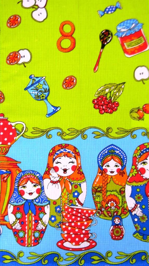 Набор вафельных полотенец Матрешки (5 шт.)Полотенца<br><br><br>Размер: 40х75