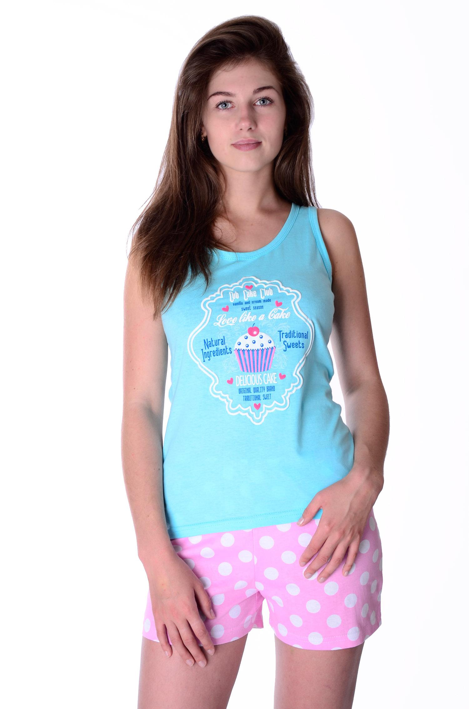 Пижама женская Пироженка (майка и шорты)Домашняя одежда<br><br><br>Размер: 48