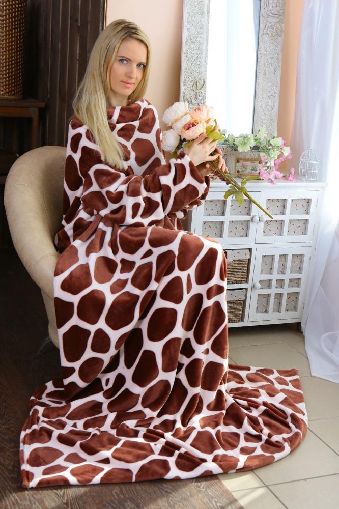 Плед с рукавами Жираф капучиноПледы<br><br><br>Размер: 140х180