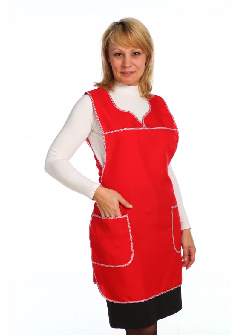 Фартук женский Клининг-1Для клининга и горничных<br><br><br>Размер: Красный