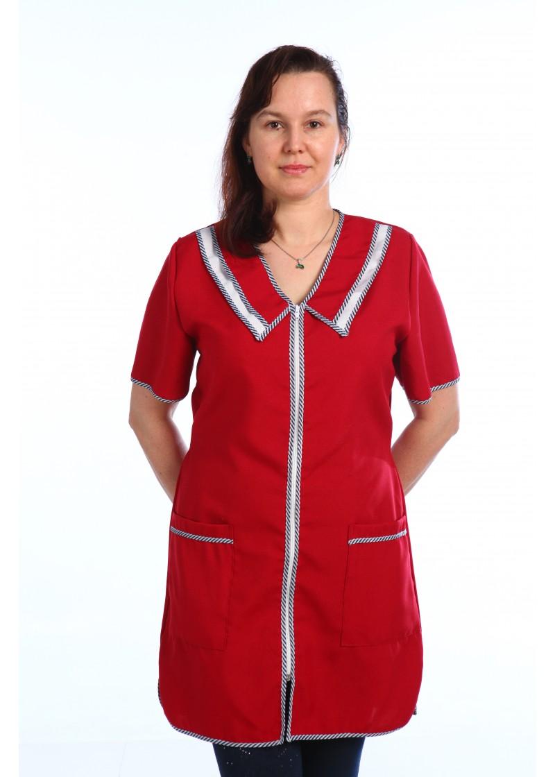 Халат женский Клининг-2Для клининга и горничных<br><br><br>Размер: Красный