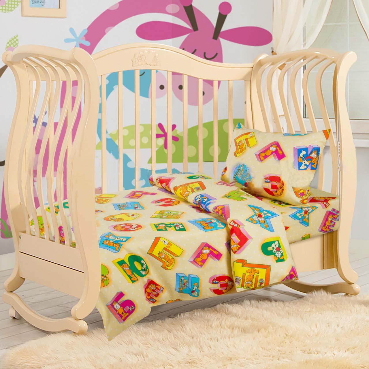 Комплект постельного белья Алфавит из бязиДетское постельное белье<br><br><br>Размер: Детский 112х147 (Наволочка 1шт. - 40х60)