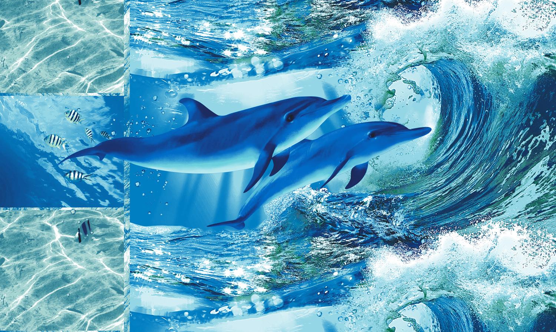 Полотенце для бани и сауны Дельфинарий вафельноеПляжные полотенца<br><br><br>Размер: 100х150