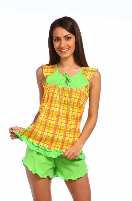 Пижама женская Сочная клетка (майка+шорты)<br><br>Размер: 48