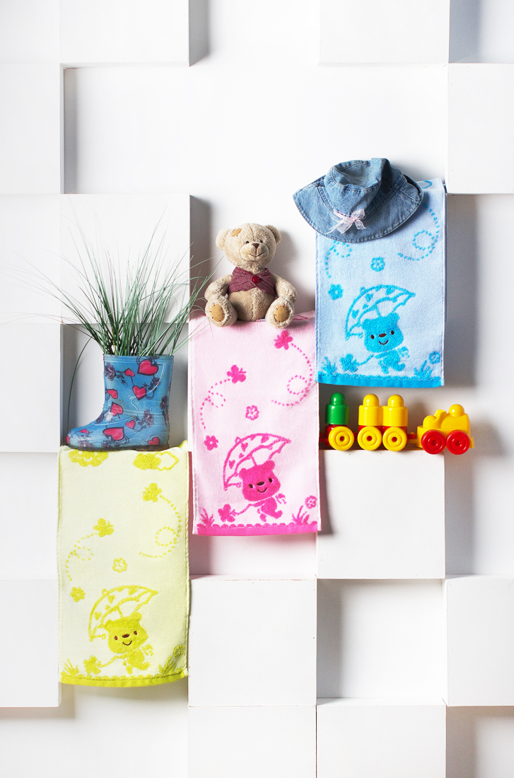 Мишка с зонтиком (набор)Детские полотенца<br><br><br>Размер: Голубой