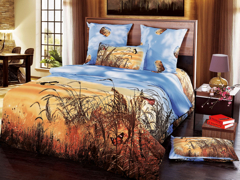 Рассвет - комплект постельного белья из сатина с 4 наволочками<br><br>Размер: 1,5 спальный, 4 нав.