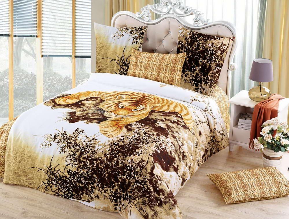 Тигр - комплект постельного белья из сатина с 4 наволочками<br><br>Размер: 2 спальный с европростыней, 4 нав.
