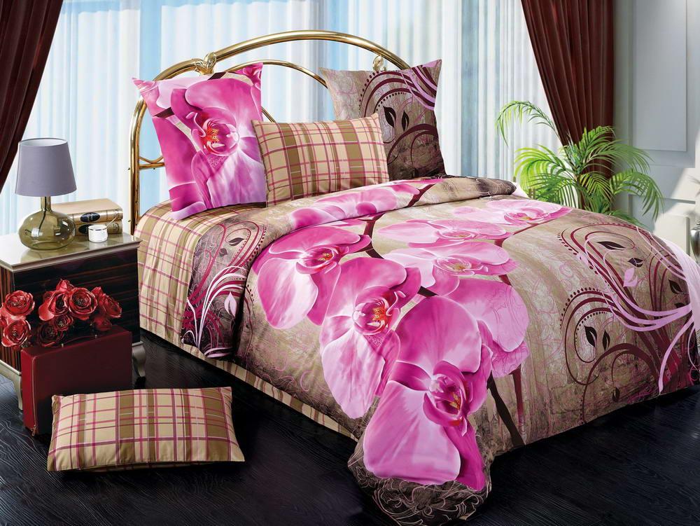 Дикая орхидея - комплект постельного белья из сатина с 4 наволочками<br><br>Размер: Семейный, 4 нав.