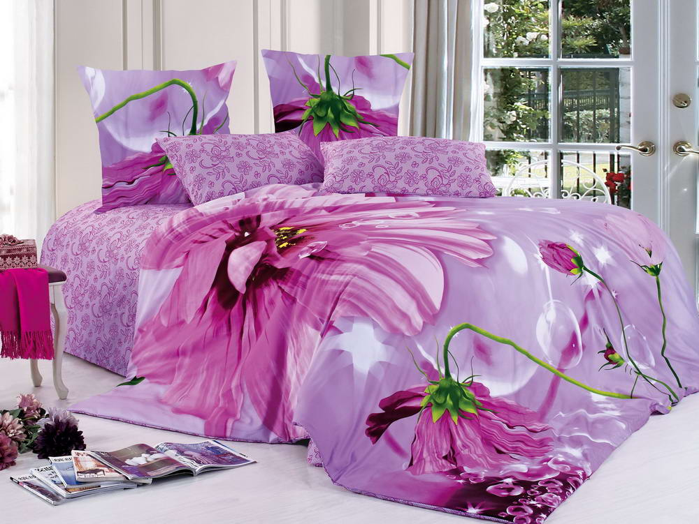 Невинность - комплект постельного белья из сатина с 4 наволочками<br><br>Размер: 1,5 спальный, 4 нав.